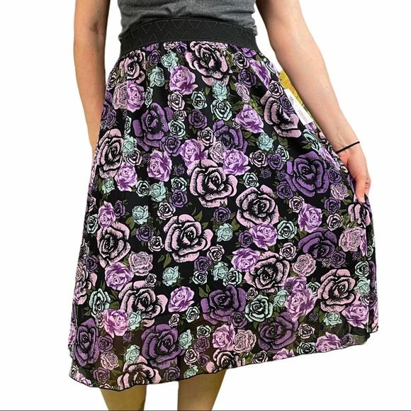 LULAROE Purple Roses Lola Medium